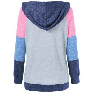 Patchwork Sleeve Drawstring Hoodie - COLORMIX XL