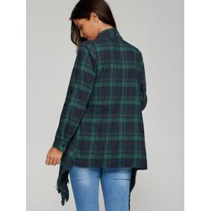 Asymmetrical Fringed Plaid Cardigan -