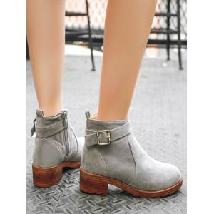 Chunky Heel Buckle Flock Ankle Boots -