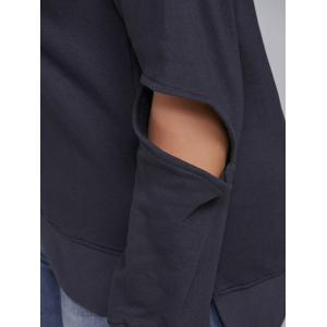 Elbow Cut Out Side Slit Hoodie -