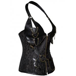 Vintage Halter Faux Leather Corset - BLACK 6XL