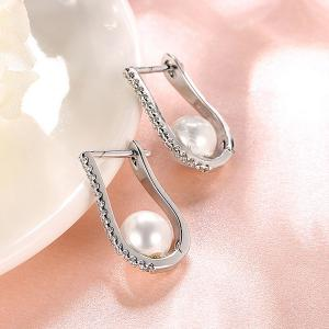 Rhinestone Artificial Pearl U-Shaped Earrings -