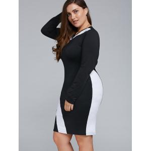 Plus Size Long Sleeve Bodycon Business Dress - WHITE 6XL
