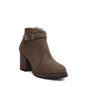 Buckle Dark Colour Zipper Ankle Boots - DARK COFFEE 39