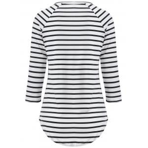 3/4 Sleeve Striped T Shirt -