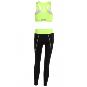 Racerback Sport Bra + High Waisted Leggings - NEON GREEN M