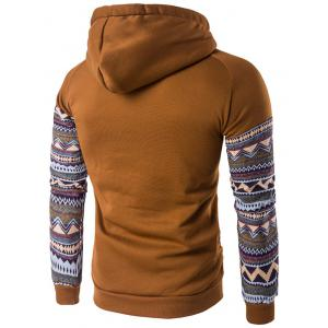 Color Block capuche Hoodie manches Raglan Tribal imprimé Pocket - Café L