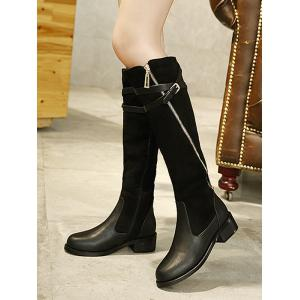 Splicing Cross Straps Buckle Boots -