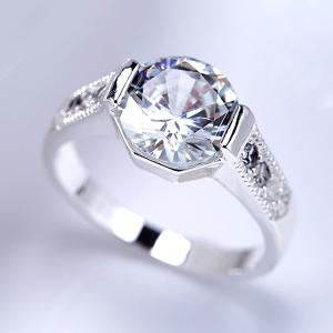 Rhinestone Embellished Engagement Ring -