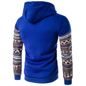 Color Block capuche Hoodie manches Raglan Tribal imprimé Pocket - Bleu 2XL