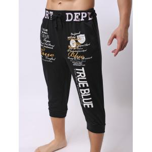 Lace-Up Color Block Spliced Letters Print Beam Feet Cropped Jogger Shorts - BLACK 2XL