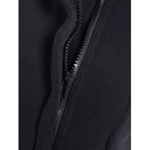 Inclined Zipped Pockets Sweatshirt - BLACK 3XL