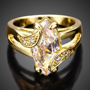 Oval Faux Diamond Ring - GOLDEN ONE-SIZE