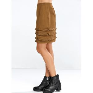 Faux Suede Skirt with Layered Tassel - BROWN XL