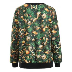 Printed Christmas Pullover Sweatshirt - GREEN XL