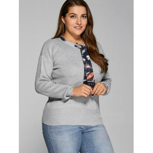 With Scarf Plus Size Sweater - GRAY XL