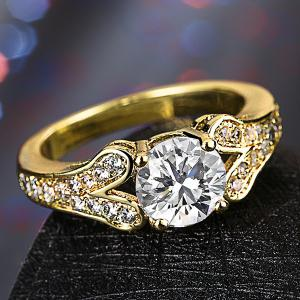 Artificial Diamond Rhinestone Engagement Ring - GOLDEN 7