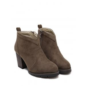 Chunky Heel Suede Dark Colour Ankle Boots -