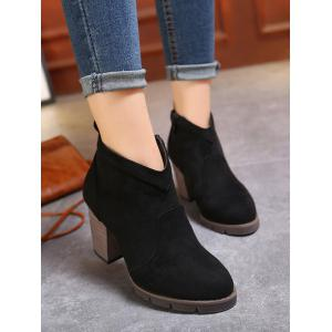 Chunky Heel Suede Dark Colour Ankle Boots - BLACK 37