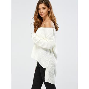 Skew Collar Drop Shoulder High Low Sweater - WHITE ONE SIZE
