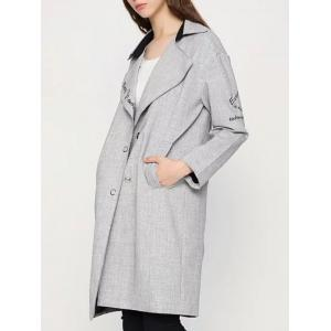 Letter Embroidered Cocoon Coat -