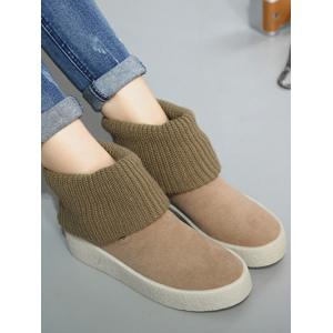Platform Knitting Buckle Snow Boots -