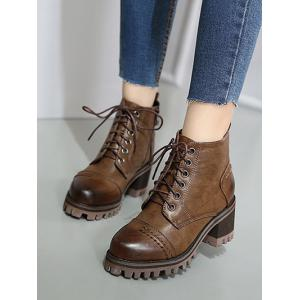 Lace-Up Chunky Heel Platform Ankle Boots -