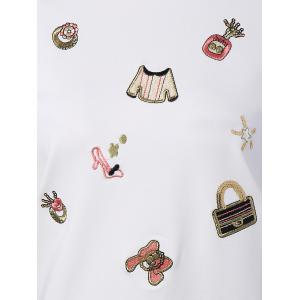 Festival Sequins Embroidery Christmas Graphic Sweatshirt - WHITE L