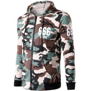 Zip-Up 666 Print Camouflage Hoodie - OFF-WHITE L