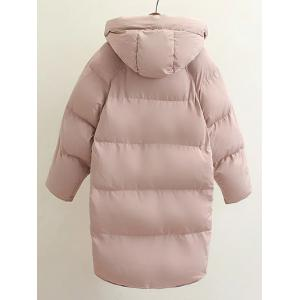 Hooded Double Pocket Down Coat - PINK L