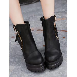 Double Zipper Buckle Platform Ankle Boots - BLACK 38