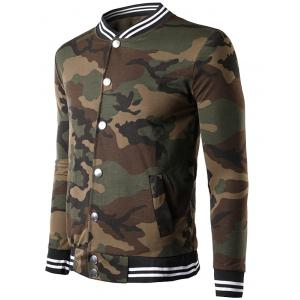 Button Up Striped Collar Camouflage Jacket - COFFEE XL