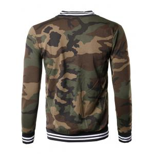Button Up Striped Collar Camouflage Jacket -