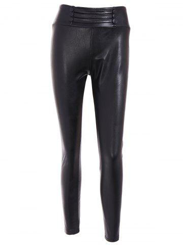 New High Waist Buttoned PU Leather Leggings