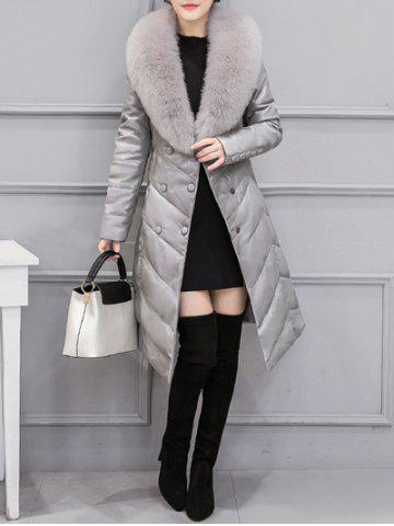 Discount Fur Collar PU Leather Quilted Coat