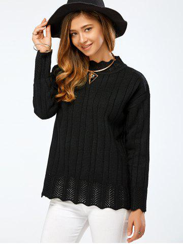 Fancy Drop Shoulder Hollow Pullover Sweater