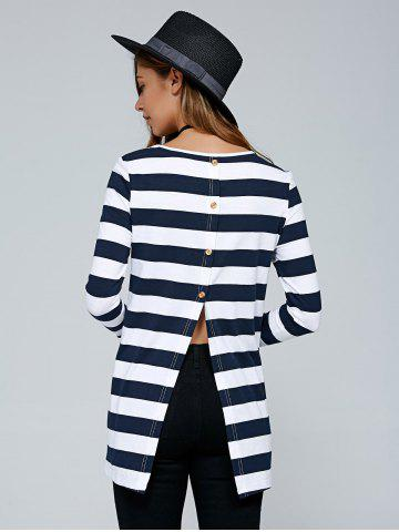 Buy Button Back Striped Blouse
