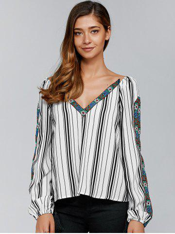 Trendy Embroidery Trim Striped Blouse