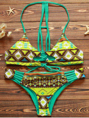 Latest Halter Cut Out Double Side Bikini Set GREEN M