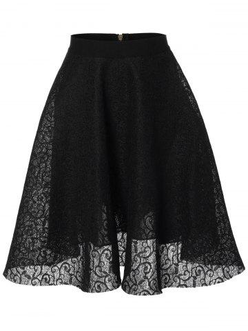 Chic Lace High Waisted Flare Skirt