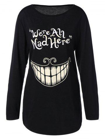 Affordable Plus Size Teeth and Letter Print T-Shirt - 4XL BLACK Mobile
