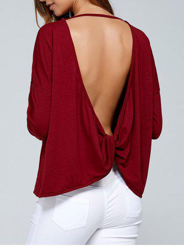 Hot Long Sleeves Twisted Open Back T-Shirt