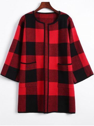 Outfit Open Front Checkered Pattern Pocket Coat