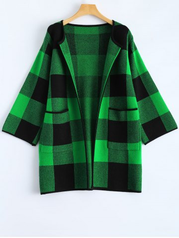Trendy Open Front Checkered Pattern Pocket Coat