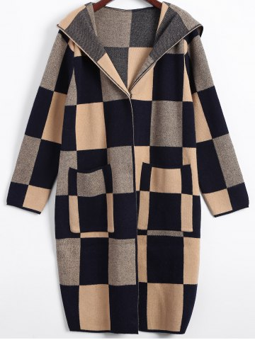 Cheap Hidden Buttoned Checkered Hooded Coat