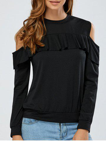 Hot Cold Shoulder Flounce Overlay Sweatshirt BLACK XL