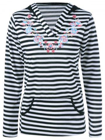 Striped Floral Pullover Hoodie