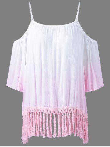 Chic Ombre Color Fringed Blouse