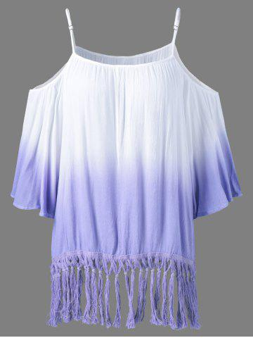 Store Ombre Color Fringed Blouse