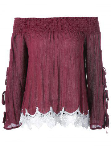 Best Lace Pleated Bell Sleeve Blouse